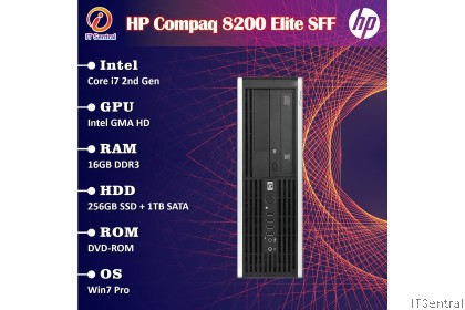i7 16GB RAM 256GB SSD + 1TB HDD HP Elite 8200 desktop PC murah bajet refurbished komputer CPU