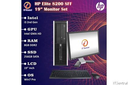 """19"""" Monitor set i5 HP Elite 8200 SFF desktop PC 8GB RAM 256GB SSD murah REFURBISHED CPU full complete 19 inch"""